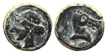 CARTHAGINIANS OCCUPATION. Ae, Calco. 218-210 BC. Mobile mint travelling with troops in Southern Spain during II Punic War.