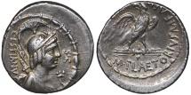 M. PLAETORIUS CESTIANUS. AG Denarius. 69 BC. Rome mint.