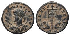 Ancient Coins - CRISPUS. Æ, Follis. 317-326 AD. Ticinum mint (ST). VIRTVS EXERCIT (R3).