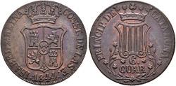 World Coins - SPAIN. Isabel II. 6 Cuartos. 1844. Barcelona. 5 Petal flowers. (Catalonia). Cal-693.