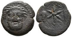 Ancient Coins - LIXUS. Mauretania. Ae, Unit. Circa 50-1 BC. Facing head of Baal-Melkart / Star between bunch of grapes and corn ear.