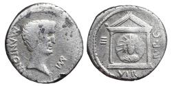 Ancient Coins - MARK ANTONY. Ar, Denarius. 44-30 BC. Military mint moving with Antony in Greece. Distyle temple and draped bust of Sol.