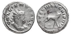 Ancient Coins - GALLIENUS. Antoninianus. 258 AD. Mediolanum mint. Legionary issue. LEG VIII AVG VI P VI F, bull advancing right, head raised and bellowing.