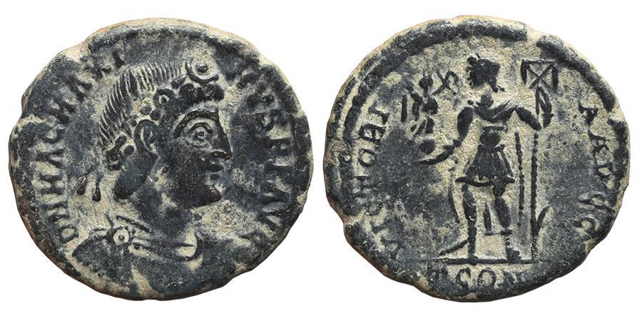 Ancient Coins - MAGNUS MAXIMUS. Æ, Maiorina. 383-385 AD. Arles mint. TCON, VICTORIA AVGG. Scarce.