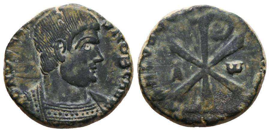 Ancient Coins - MAGNENTIUS. Æ, Centenionalis. 350-353 AD. Treveri mint. Chi-rho, flanked by A-Ѡ; uncertain date in exergue.
