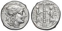 Ancient Coins - TI. MINUCIUS AUGURINUS. AG, Denarius. 134 BC. Rome mint.