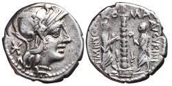 Ancient Coins - TI. MINUCIUS AUGURINUS. AR, Denarius. 134 BC. Rome mint. CTI MINVCI C.F. AVGVRINI. Minucius Augurinus & Minucius Faesus, Ionic column surmounted by statue.