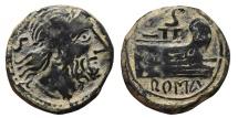 Ancient Coins - ROMAN REPUBLIC, Anonymous. AE, Semis. 211 - 207 BC. Hispania mint. Saturn / Prow rigth.