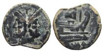 Ancient Coins - ROMAN REPUBLIC. AE33, As. Anonymous. 206-195 BC. PROW SYMBOL.