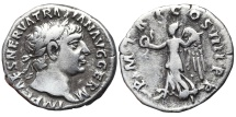 Ancient Coins - TRAJAN. AR, Denarius. 101-102 AD. Rome mint. Victory with wreath and palm. P M TR P COS IIII P P.