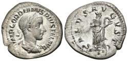 Ancient Coins - GORDIAN III. AR, Denarius. 238-244 AD. Rome mint. SALVS AVGVSTI, Salus standing right, feeding snake held in arms.