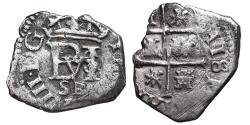World Coins - PHILIPPVS III. 1/2 Real. 1610. Sevilla B. SPAIN. RARE.
