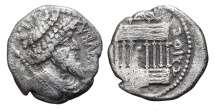 JUBA I. AG, Denarius. 60-46 BC. Octastyle temple and punic legends.