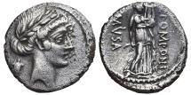 Ancient Coins - Q. POMPONIUS MUSA. AR, Denarius. 66 BC. Rome mint. Q. POMPONI - MUSA Muse of Dancing. SCARCE