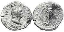 VESPASIAN. AR, Quinarius. 75? AD. Rome mint. VICTORIA AVGVSTI. Scarce.
