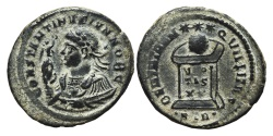 Ancient Coins - CONSTANTINE II. Æ, Follis. 324 AD Treveri - Trier mint. (STR). BEATA TRANQVILLITAS.