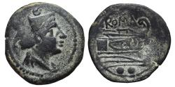 Ancient Coins - ROMAN REPUBLIC. AE, Sextans. 215-212 BC. Rome mint. Mercury / Prow rigth .