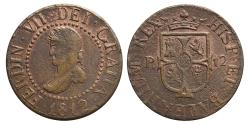 World Coins - FERNANDO VII. AE, 12 Dineros. 1812. Mallorca mint (Balearic Islands). SPAIN.