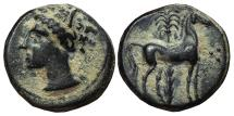 Ancient Coins - CARTHAGINIANS OCCUPATION OF SICILY. Ae. Half-unit. 220-215 BC. Horse and Palm tree + Three dots.