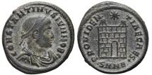 Ancient Coins - CONSTATINE II. Æ, Follis. 328-329 AD. Nicomedia mint SMNE . PROVIDENTIAE CAES, Campgate.