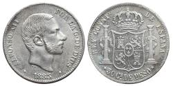 World Coins - ALFONSO XII. Ar, 50 Centavos de Peso. 1885. Manila mint (Philippines). SPANISH COLONIAL.