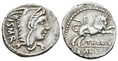 Ancient Coins - L. THORIUS. BALBUS. Ar, Denarius. 105 BC. Rome mint. Juno Sospita - Bull charging right; B above.