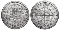 World Coins - PHILIPPUS V. AR, 2 Reales. 1718 Segovia J mint (Aqueduct of two levels and variant of crown) SPAIN.