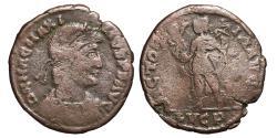 Ancient Coins - MAGNUS MAXIMUS. Æ, Maiorina. 386 AD. Lugdunum (Lyon) mint. LUGP. VICTORIA AVGG. Scarce.