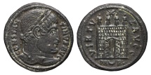 Ancient Coins - CONSTATINE I. Æ, Follis. 307-337 AD. Arles mint. PA (Crescent) RL. Camp-gate with open doors.
