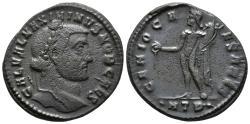 Ancient Coins - MAXIMINUS II. Ae, Follis. 305-309 AD.  Heraclea 2nd Officina mint. GENIO CAESARIS, Genius standing left, holding patera and cornucopia; ·HTB·.