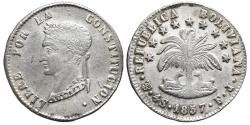 World Coins - BOLIVIA. AR, 4 Soles. 1857 Potosí F.J. mint. Very rare rectification of the number 7 on an F.