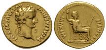 Ancient Coins - Tiberius Aureus (biblical coin) good example VF GOLD