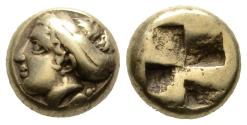 Ancient Coins - Electrum Hecte of Mytilene with Attractive Female Head, about EF
