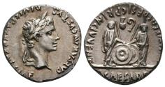Ancient Coins - EF Augustus Denarius with facing princes. Beautiful and stylish portrait!