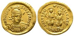Ancient Coins - Theodosius II. Solidus With Valentinian III.