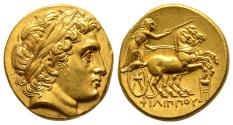 Ancient Coins - Philippus III Gold Stater With Portrait Of Alexander The Great, Kolophon Mint, Nearly Mint State