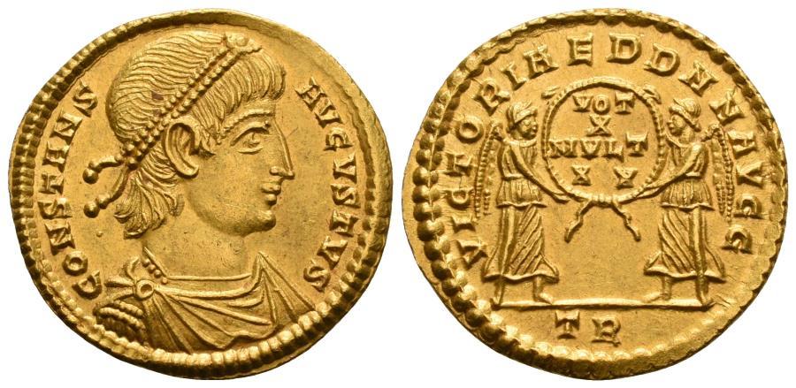 Ancient Coins - Constans Solidus, Treveri Mint, EF-FDC