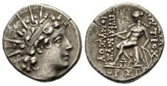 Ancient Coins - The Seleukid Empire: Antiochus VI Drachm, Antioch Mint, Apollo with Bow and Arrow