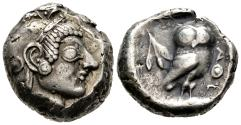 Ancient Coins - Beautiful Archaic Owl Tetradrachm from French Collection