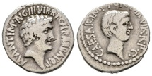 Double Portrait Denarius of Marc Antony with Octavian, struck after Philippi in Ephesus