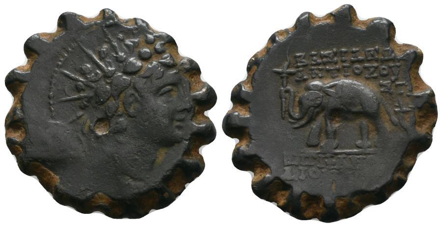 Ancient Coins - Antiochus VI  Dionysos, 144-142 BC, Elephant Chalcous, Antioch Mint