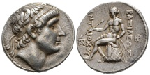 Very expressive portrait of Antiochus I. on tetradrachm of Seleucia ad Tigrim