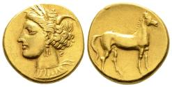 Ancient Coins - Beautiful Electrum Shekel of Carthago With Tanit's Head And Horse