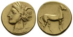 Carthage Electrum Shekel with Fine Gold Color, Fine Style, Well Centered