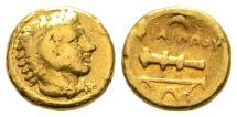 Ancient Coins - Rare Quarter Stater of Philippus II. / Alexander The Great, GOLD, Amphipolis Mint