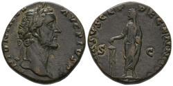Ancient Coins - Antoninus Pius Sestertius with Emperor Sacrifying