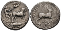 Ancient Coins - Rare Tetradrachm of Gela with Nymph and Hare