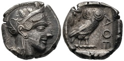 Ancient Coins - About EF tetradrachm of Athens with dark toning