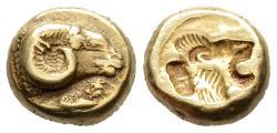 Ancient Coins - Lesbus: Mytilene, Electrum Hecte With Ram / Cock / Lion's Head, Rare!