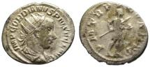 Ancient Coins - Gordian III AR antoninianus - Emperor holding globe & spear
